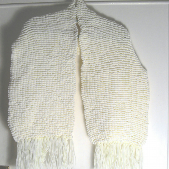 Wide Cream Pom Pom Hand Knitted Scarf - Stole