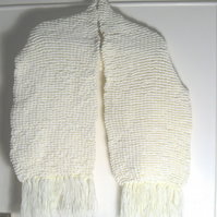 Wide Cream Pom Pom Hand Knitted Scarf - Stole - UK Free Post