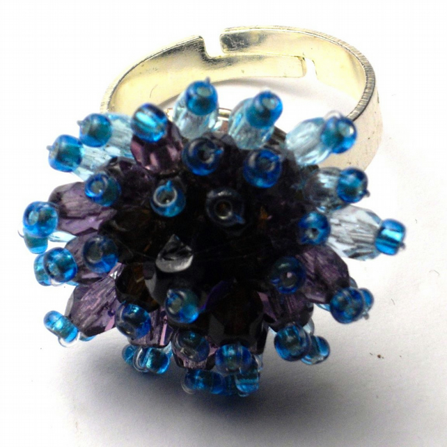 Gemstone Bead Ring - UK Free Post