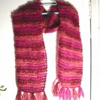 Beautiful Pink Tones Hand Knitted Scarf with Mohair - UK Free Post