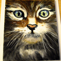 Scottish Wildcat Kitten Oil on Canvas Painting - UK Free Post