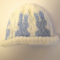 Cute Blue and White Bunny Baby Hat - UK Free Post