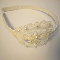 Lace and Pearl Vintage Style Head Band - UK Free Post