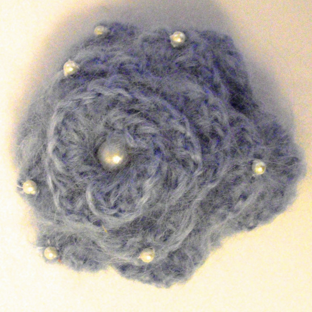 Blue Crocheted Flower Brooch With Mohair and Pearls