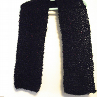 Hand Knitted Boucle Scarf with Mohair - UK Free Post