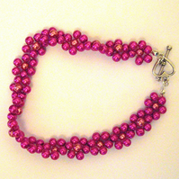 Pink Pearl Bead Flower Bracelet - UK Free Post