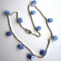Beautiful Hand Dyed Blue Button Necklace