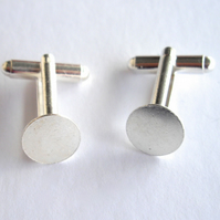 1 x Pair of Silver Plated Cuff Link Blanks