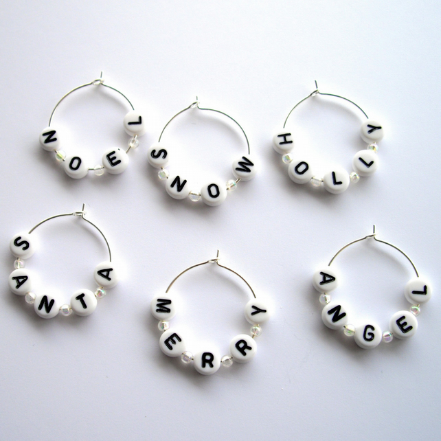 Set of 6 Festive Themed Wine Glass Charms