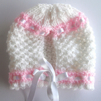 Cute Pink and White Baby Bonnet - UK Free Post