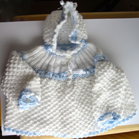 Hand Knitted Blue and White Hooded Baby Top