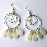 Shell and Crystal Earrings - UK Free Post