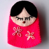 Russian Doll Felt Brooch
