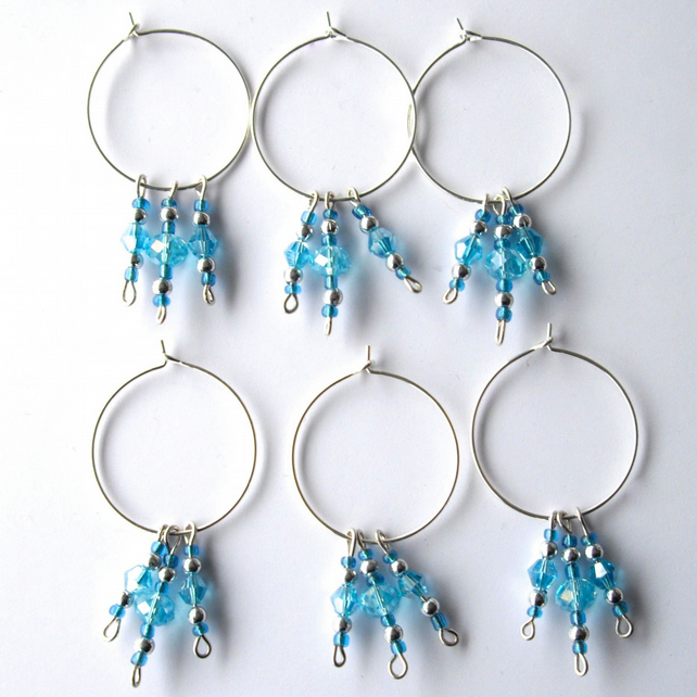 Set of 6 Pale Blue Crystal 'Icicles' Bead Wine Glass Charms