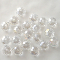 20 x Clear AB Faceted Crystal Rondelle Beads