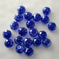 20 x Dark Blue AB Faceted Crystal Rondelle Beads
