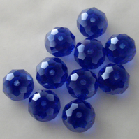 10 x Dark Blue AB Faceted Crystal Rondelle Beads