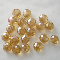 20 x Golden AB Faceted Crystal Rondelle Beads