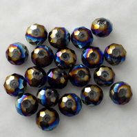 20 x Metallic Rainbow Faceted Crystal Rondelle Beads