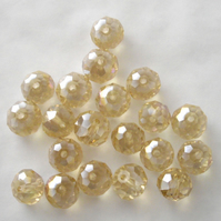20 x Champagne AB Faceted Crystal Rondelle Beads