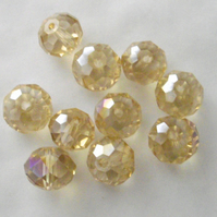 10 x Champagne AB Faceted Crystal Rondelle Beads