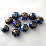 10 x Metallic Rainbow Faceted Crystal Rondelle Beads