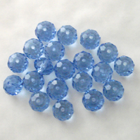 20 x Light Blue Faceted Crystal Rondelle Beads