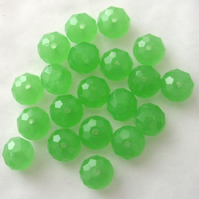 20 x Green Faceted Crystal Rondelle Beads