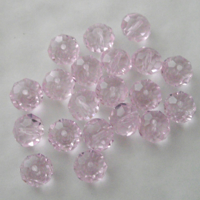 20 x Light Pink Faceted Crystal Rondelle Beads