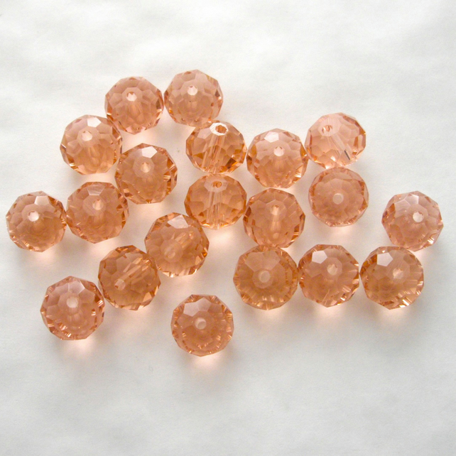 20 x Salmon Pink Faceted Crystal Rondelle Beads
