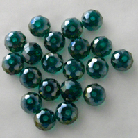 20 x Green AB Faceted Crystal Rondelle Beads