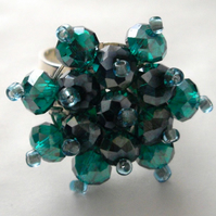 Green Crystal Bead Bling Ring