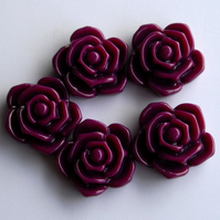 5 x 20 mm Dark Purple Plastic Rose Beads
