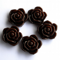 5 x 20 mm Coffee Plastic Rose Beads