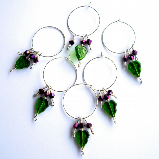 Set of 6 Green Glass Leaf and Purple Crystal Bead Wine Glass Charms