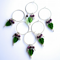 Set of 6 Green Leaf and Purple Wine Glass Charms - UK Free Post