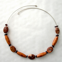 Jasper, Garnet and Wood Memory Wire Necklace - UK Free Post