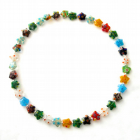 Millefiori Star Bead Memory Wire Necklace - UK Free Post