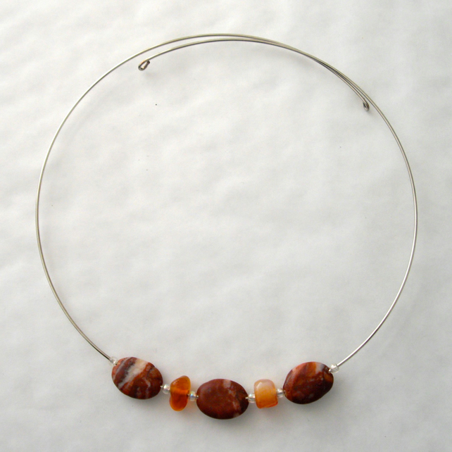 Jasper and Carnelian Memory Wire Necklace