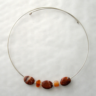 Jasper and Carnelian Memory Wire Necklace - UK Free Post