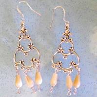 Shell Bead Chandelier Earrings