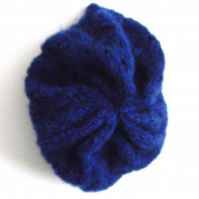 Blue Hand Knitted Beret - UK Free Post