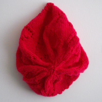 Pretty Pink Hand Knitted Beret - UK Free Post