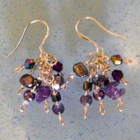 Purple Amethyst and Freshwater Pearl MIx Cascade Earrings