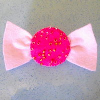 Cute Pink Felt Sweetie Brooch