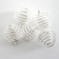 10 x Spiral Bead Cage Pendants