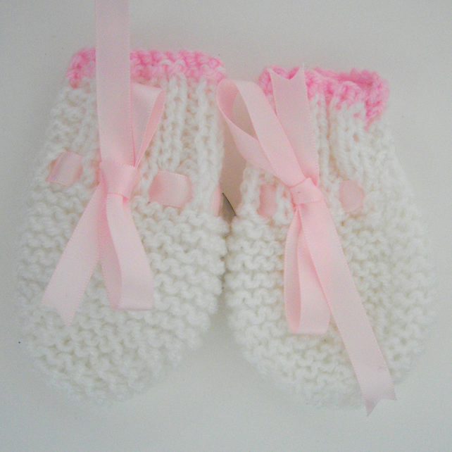 Hand Knitted Pink and White Baby Mittens