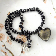 Misty Glass Heart and Onyx Gemstone Choker - UK Free Post