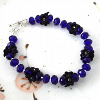 Black Flower and Blue Crystal Bead Bracelet - UK Free Post