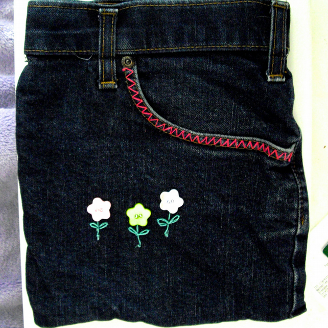 Upcycled Denim Jeans iPad Sleeve